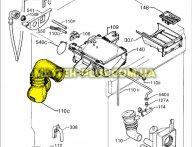 Патрубок от порошкоприемника к баку Electrolux  1246604126 для стиральной машины