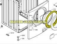 Обечайка внутренняя дверки люка Zanussi Electrolux 1325019501 для стиральной машины