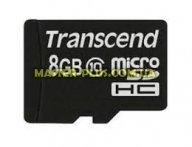 Карта памяти Transcend 8Gb microSDHC class 10 (TS8GUSDC10) для компьютера
