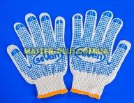 Перчатки трикотажные белые с ПВХ точкой (10 класс, 2 нитки)