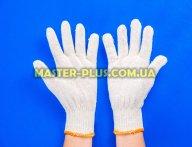 Перчатки трикотажные белые без ПВХ точек (10 класс, 2 нитки)