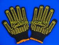 Перчатки трикотажные черные с ПВХ точкой (7 класс, 5 ниток)