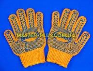 Перчатки трикотажные оранжевые с ПВХ точкой (10 класс, 3 нитки)
