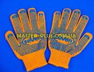 Перчатки трикотажные оранжевые с ПВХ точкой (7 класс, 5 ниток)