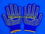 Перчатки трикотажные синие с ПВХ точкой (7 класс, 5 ниток)