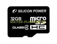 Карта памяти Silicon Power 32Gb microSDHC class 4 (SP032GBSTH004V10)