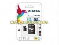 Карта памяти A-DATA 32Gb microSDHC Ultra UHS-I +SD адаптер Class 10 (AUSDH32GUICL10-RA1)