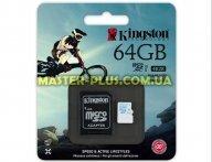 Карта памяти Kingston 64GB microSD class10 USH-I U3 (SDCAC/64GB)