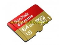 Карта памяти SANDISK 64GB microSDXC Extreme Class 10 UHS-I U3 (SDSQXNE-064G-GN6MA) для компьютера
