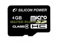 Карта памяти Silicon Power 4Gb microSDHC class 4 (SP004GBSTH004V10)