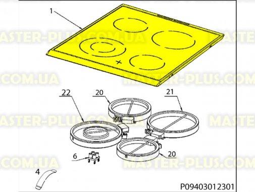 Стеклокерамическая рабочая поверхность для Плиты Electrolux 3428371433