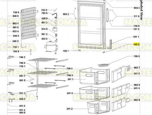 Купить Втулка двери (левая) Whirlpool 481253288077