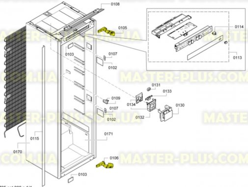 Купить Комплект завесов (верхняя + нижняя) двери морозильной камеры Bosch 492680, Bosch Siemens