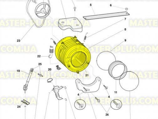Бак в сборе с барабаном Indesit Ariston C00097236 для стиральной машины