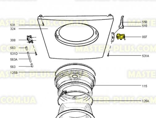 Замок (УБЛ) Electrolux 1249675123 для стиральной машины